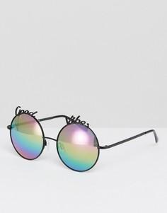 Круглые солнцезащитные очки с надписью Good Vibes River Island - Черный