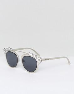 Декорированные солнцезащитные очки River Island - Серебряный