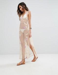 Полупрозрачное платье макси с вышивкой River Island - Бежевый
