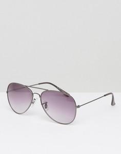 Темно-серые солнцезащитные очки-авиаторы River Island - Серый