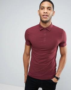 Бордовая обтягивающая футболка-поло River Island - Красный