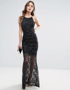 Кружевное платье макси с блестками Lipsy - Черный