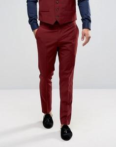Бордовые зауженные брюки River Island - Красный