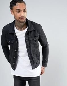 Черная выбеленная джинсовая куртка River Island - Черный