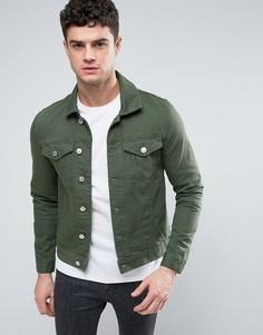 Темно-зеленая джинсовая куртка River Island - Зеленый
