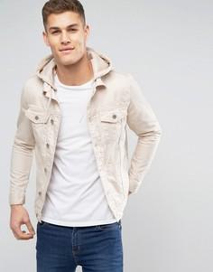 Светло-бежевая джинсовая куртка с капюшоном River Island - Белый