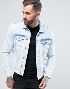 Рваная джинсовая куртка с эффектом кислотной стирки River Island - Синий