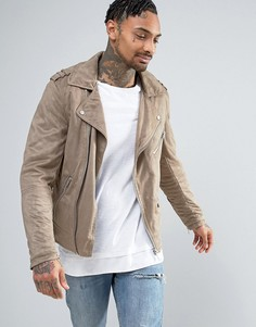 Светло-коричневая байкерская куртка из искусственной замши River Island - Коричневый