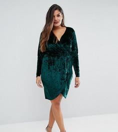 Платье с запахом из бархата Pink Clove Plus - Зеленый