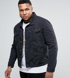 Черная выбеленная джинсовая куртка River Island PLUS - Черный