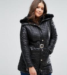 Стеганое пальто с ремнем и меховым воротником Koko Plus - Черный