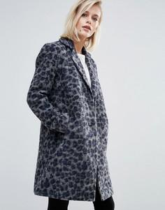 Пальто с добавлением шерсти с леопардовым принтом Pepe Jeans Yvonne - Серый