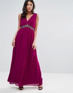 Платье макси вишневого цвета с поясом и отделкой Little Mistress - Красный