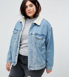 Синяя выбеленная джинсовая куртка с искусственным мехом ASOS CURVE - Синий