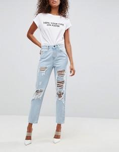 Рваные состаренные джинсы в винтажном стиле ASOS ORIGINAL - Синий