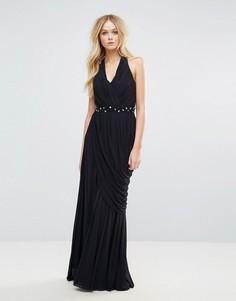 Платье макси с бретелью через шею City Goddess - Черный
