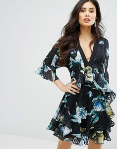 Платье с рюшами и цветочным принтом River Island Studio - Мульти