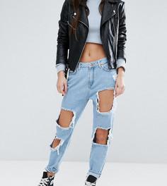 Джинсы в винтажном стиле с рваной отделкой New Look Petite - Синий