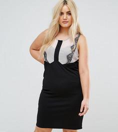 Платье-футляр с кружевной вставкой Junarose - Черный