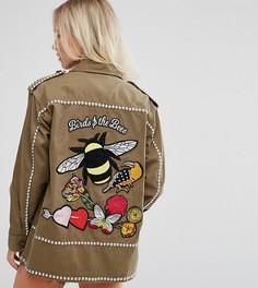 Рубашка-куртка с вышитой пчелой и отделкой ASOS PETITE - Зеленый