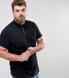 Футболка-поло с короткими рукавами и карманом Brave Soul PLUS - Черный
