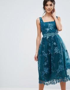 Платье миди с вышивкой Little Mistress - Зеленый