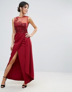 Красное кружевное платье макси с аппликацией Little Mistress - Красный