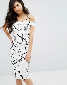 Приталенное платье с эскизным принтом River Island - Мульти