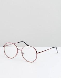 Металлические очки в круглой розовой оправе с прозрачными стеклами ASOS - Коричневый