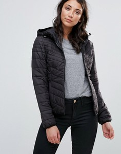 Стеганая куртка с капюшоном Only Dorit - Черный