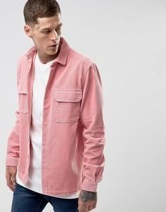 Розовая рубашка навыпуск из плотного вельвета ASOS - Розовый