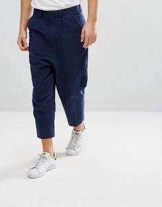 Темно-синие фактурные строгие брюки заниженного кроя с добавлением льна ASOS - Темно-синий