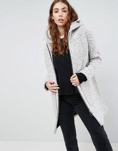 Фактурное пальто с капюшоном и подвеской-кольцом на молнии ASOS - Серый