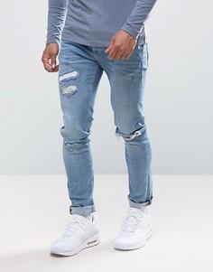 Светлые джинсы скинни с потертостями River Island - Синий