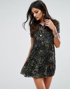 Платье с присборенной юбкой с крупным цветочным принтом River Island - Мульти