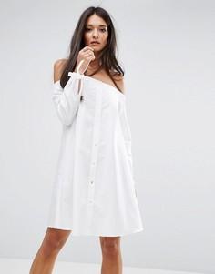 Платье с широким вырезом и завязками на рукавах River Island - Белый