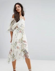 Платье миди с цветочным принтом River Island - Кремовый