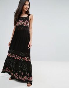 Платье макси с вышивкой и кружевом River Island - Черный