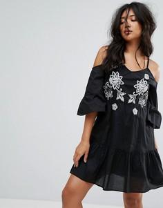 Свободное платье с вышивкой River Island - Мульти