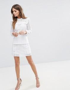 Мини-юбка с вышивкой ришелье River Island - Белый
