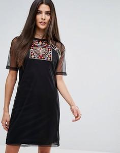 Сетчатое платье-футболка с вышивкой River Island - Черный