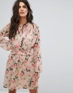 Чайное платье с цветочным принтом River Island - Мульти