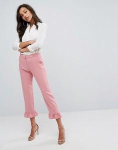 Строгие брюки с оборками River Island - Розовый
