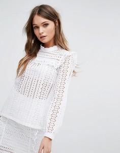 Кружевная блузка с оборками River Island - Белый