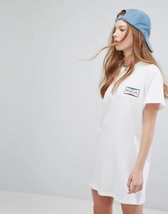 Свободное платье-футболка с принтом RVCA - Белый