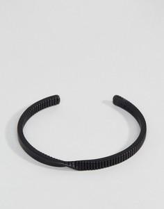 Черный матовый браслет-манжета с перекрутом Icon Brand - Черный