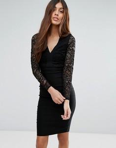 Кружевное платье-футляр с длинными рукавами и V-образным вырезом Vesper - Черный
