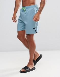 Голубые шорты для плавания с логотипом-галочкой Nike NESS7424069 - Синий