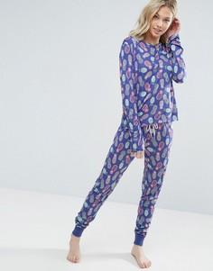 Пижамные лонгслив и штаны с ананасами Chelsea Peers - Фиолетовый