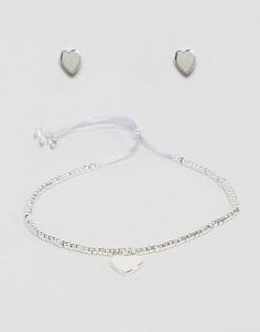 Посеребренные серьги и браслет Estella Bartlett - Серебряный